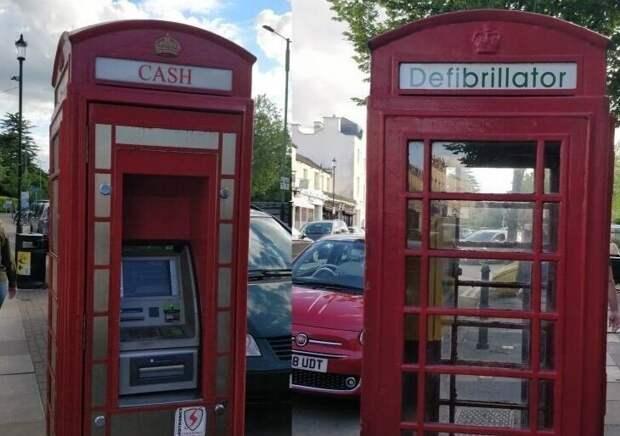 4. Лондонские телефонные будки. В одной банкомат, в другой - дефибриллятор