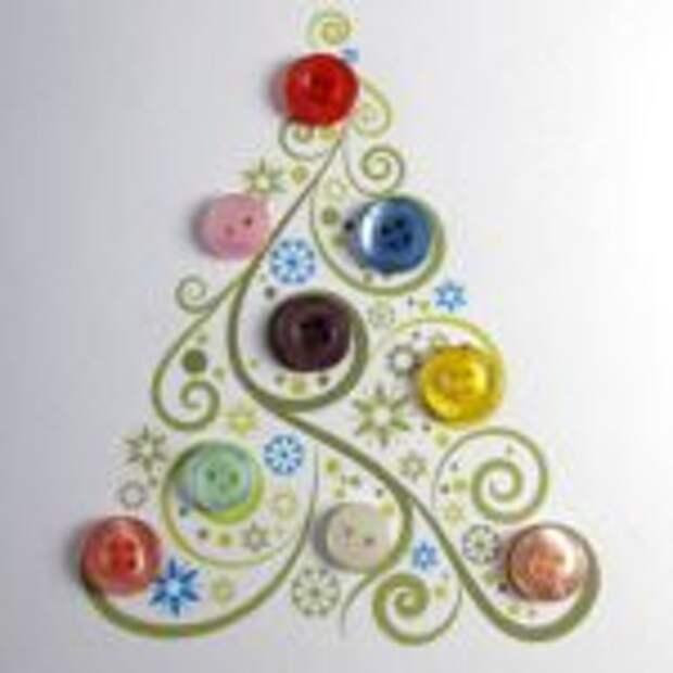 Простая новогодняя елочка сделана с использованием пуговиц