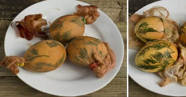 Как покрасить яйца луковой шелухой с помощью марли и укропа