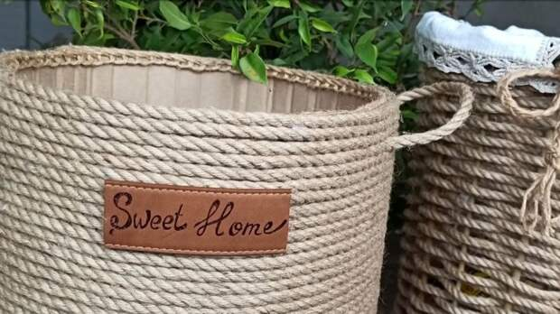 Сразу 2 крутые корзины для хранения из обычной верёвки всего за 1 день