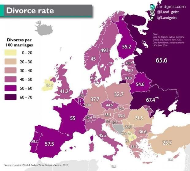 Количество разводов на 100 браков