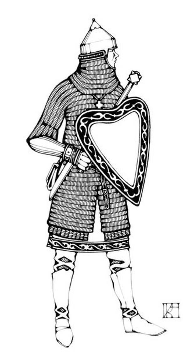 Реконструкция воина из Великого Новгорода конца XIV века