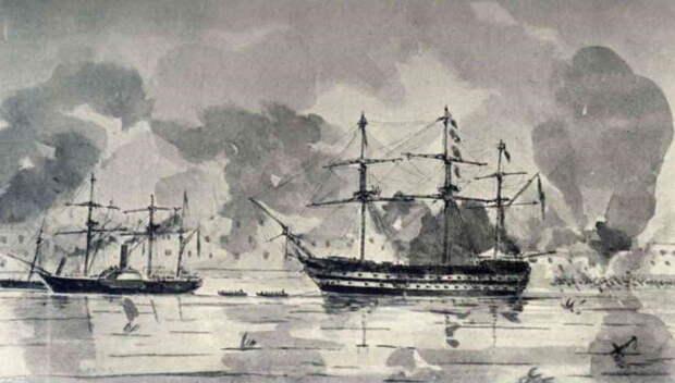 Британский корабль «Родней» и пароходофрегат «Спайтфул» во время бомбардировки Севастополя ведут перестрелку с орудиями Константиновской береговой батареи (на заднем плане). Акварельный рисунок капитана Томаса Саймондса, октябрь 1854 года. Во время боя корабль «Аретуза», на котором находился Саймондс, , как и два корабля, изображенных на рисунке, были серьезно повреждены огнем русских пушек