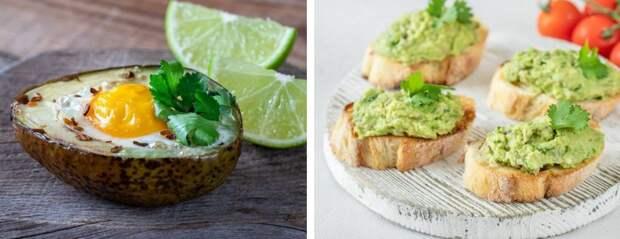Полезный завтрак на двоих: запеченное авокадо с яйцом и тостами