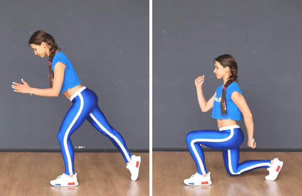 Выпады в статике с переносом веса тела на впереди стоящую ногу