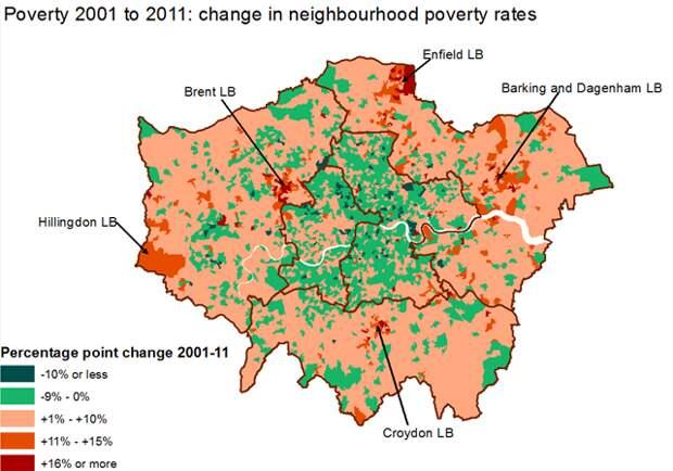 """Изменение доли бедных в разных районах Лондона в 2001-2011 гг., ещё больше """"работающее"""" на сегрегацию"""