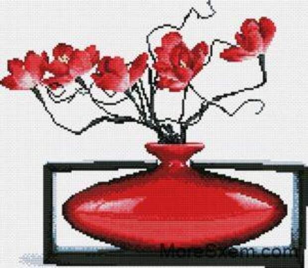 Красная ваза