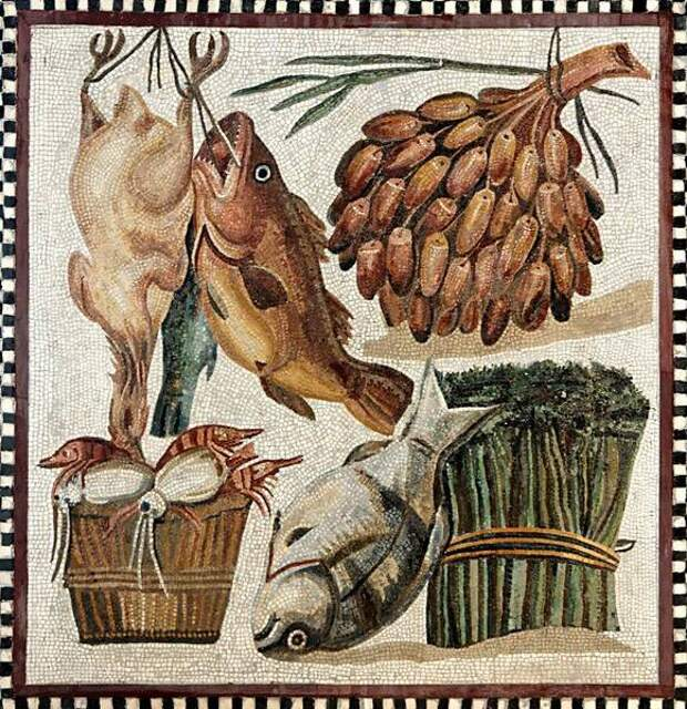 Мозаика II века с изображением продуктов. Музей Бардо, Тунис