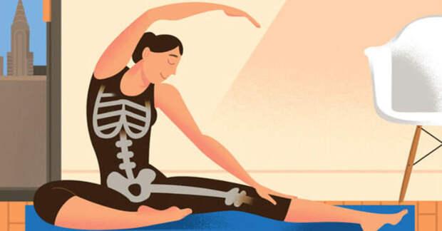 15 минут занятия йогой для улучшения плотности костей и борьбы с остеопорозом: 9 поз (видео)