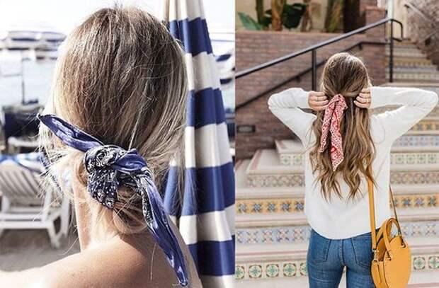 модно волосы прически 2018 2019 маленький платок