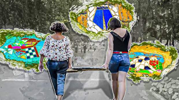 Художницы из Барнаула превращают выбоины на тротуарах в арт-объекты
