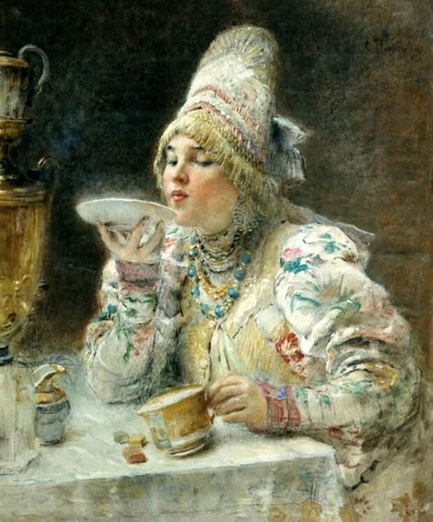 За чаем, 1914