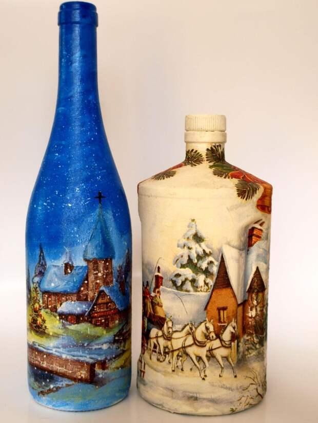 Декупаж новогодних бутылок шампанского (56 фото)