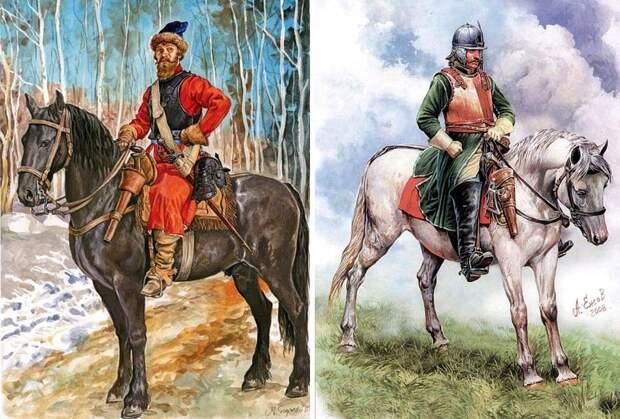 Русские рейтары времен войны 1654-1667 годов. Рисунки Александра Ежова