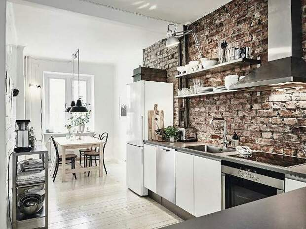 Кирпич в интерьере кухни (64 фото)