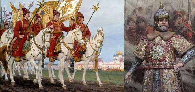 Слева – Государево войско. Жильцы (дворянская конница, прообраз будущей гвардии); справа – царь Алексей Михайлович в ратных доспехах