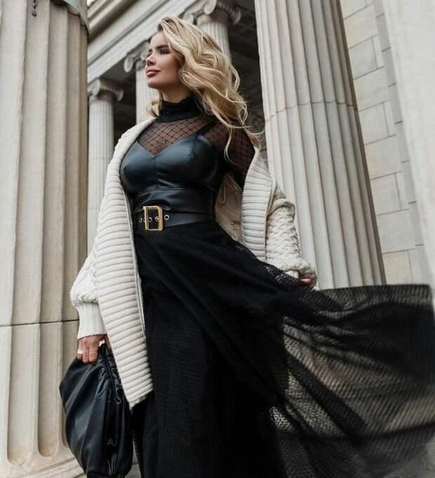 Как носить вечерние платья зимой: луки с верхней одеждой