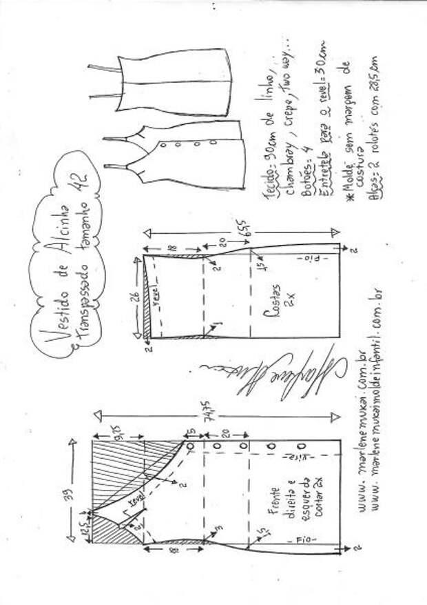 Выкройки сарафана с асимметричной застёжкой