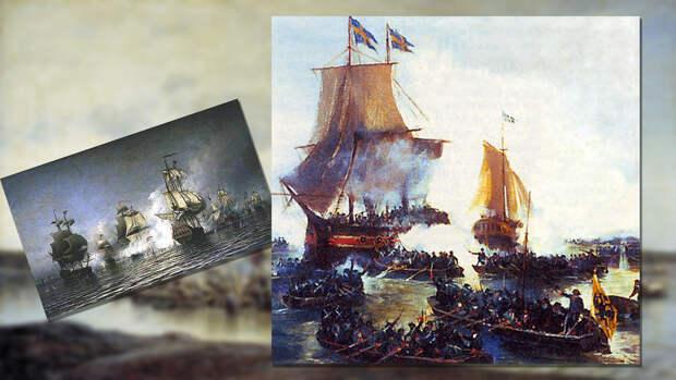 Взятие Петром I шведских кораблей «Гедан» и «Астрильд» в устье Невы. Фото: © wikipedia.org