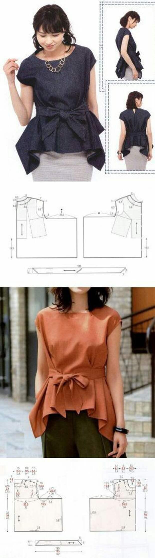 Японская выкройка блузки с углами