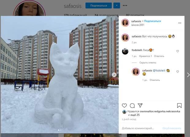 Фото дня: школу в Некрасовке теперь охраняет снежный зверь