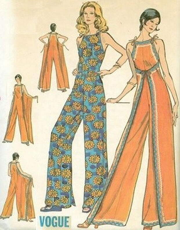 Выкройка женского летнего  винтажного комбинезона - конверта