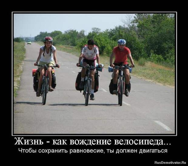 Демотиватор: Жизнь - как вождение велосипеда... - Чтобы сохранить ...