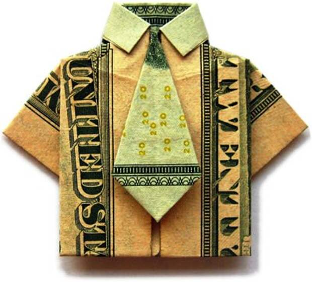 Оригами рубашка из денег