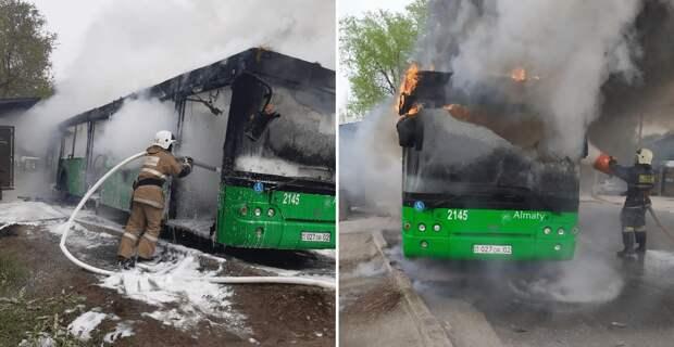 Автобус загорелся в Алматы