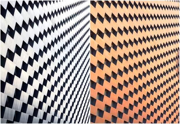 Благодаря алюминию, фасад сооружения меняет свой цвет в зависимости от освещения (Amager Bakke, Копенгаген). © Hufton + Crow.
