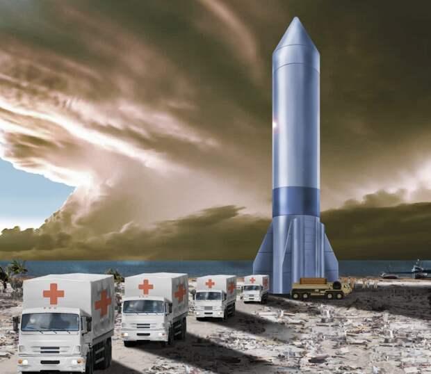 Мы не знаем, почему дизайнер ВВС США изобразил рядом со стилизованным Starship грузовики, похожие на МАЗ / ©US Air Forces