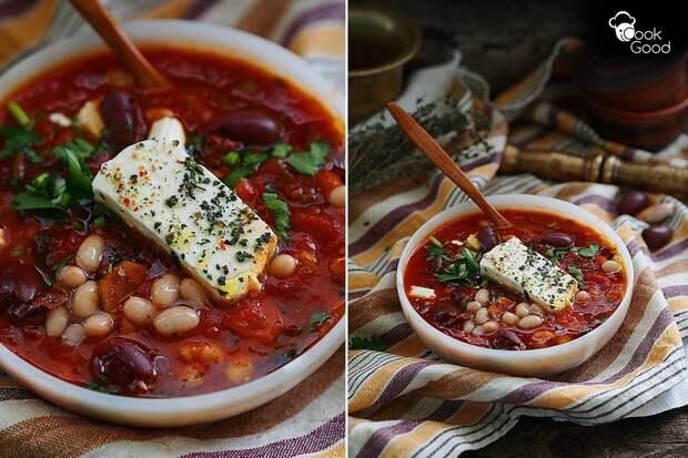 Суп из фасоли, томатов и сыра фета по-средиземноморски