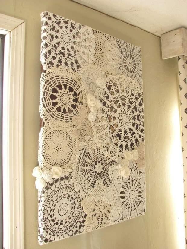 7. Декоративное панно на стену Фабрика идей, кружевная салфетка, наши руки не для скуки, поделки и переделки
