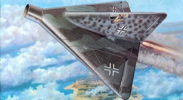 Один изпроектов немецких истребителей сиспользованием дельтообразного крыла. Это дозвуковой самолёт, изачем ему такое крыло, неочень ясно. Оего диком длясверхзвука профиле иречи неидёт