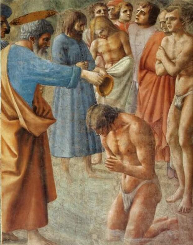 Томмазо Мазаччо, «Капелла Бранкаччи. Крещение неофитов» (фрагмент), 1425 г.