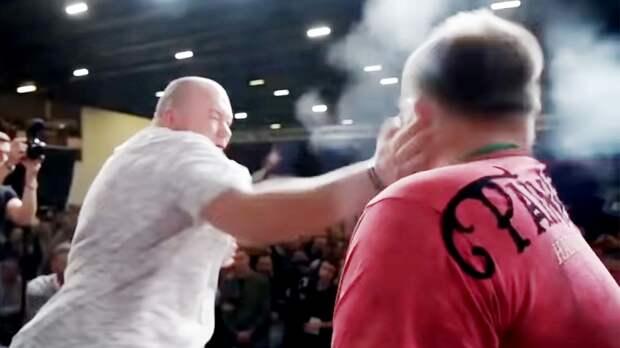 Русскую звезду турнира попощечинам попрозвищу Пельмень вырубили. Видео сним выложил президент UFC