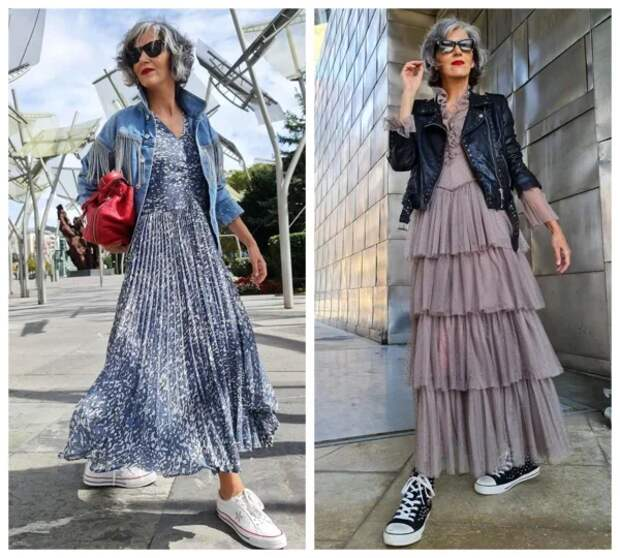 Платье с кроссовками - модные образы для дам элегантного возраста: Стильно, комфортно и молодо