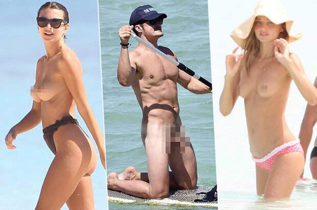 Знаменитости, которые любят обнажаться на пляже