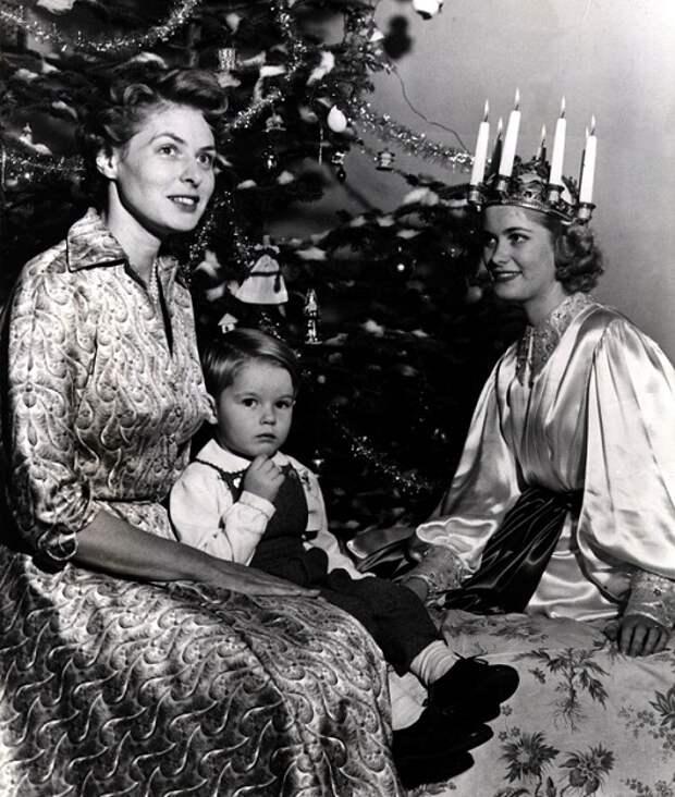 Игрид Бергман празднует Рождество с семьей