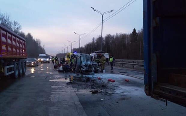 Страшная авария на «Дон»: микроавтобус врезался в фуру