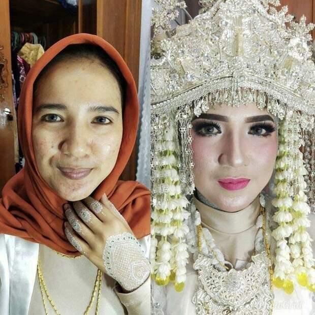 Дело в том, что такой агрессивный макияж считается традиционным для жителей Индонезии и Таиланда боевой раскрас, красота, люди, макияж, невеста, фото