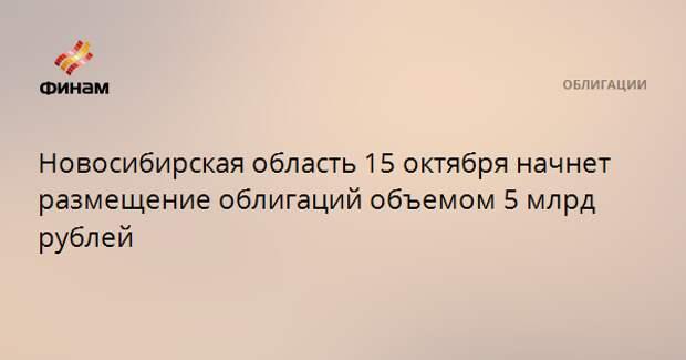 Новосибирская область 15 октября начнет размещение облигаций объемом 5 млрд рублей
