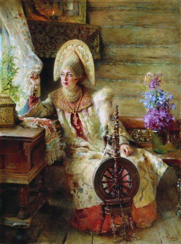 Константин Маковский, Боярышня у окна (с прялкой). 1890-е