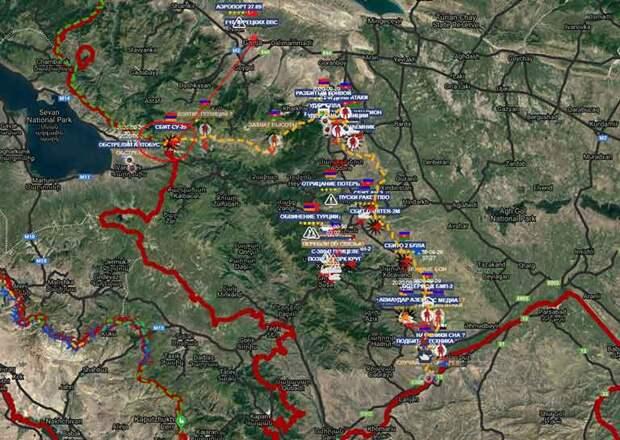 Оперативная карта Нагорного Карабаха на 30 09 2020
