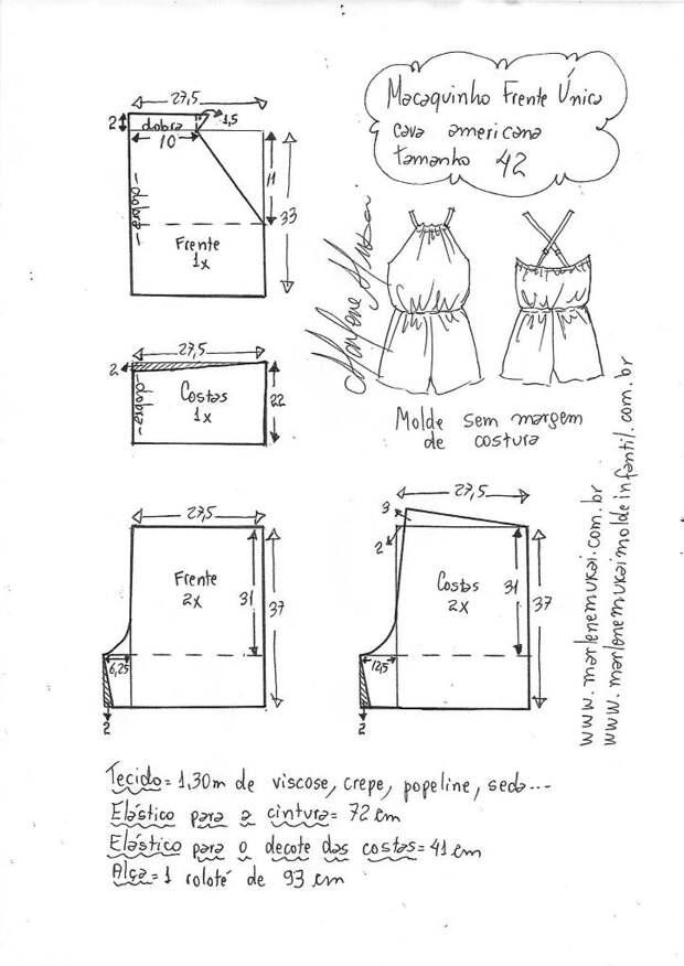 Выкройки легкого комбинезончика (подборка)