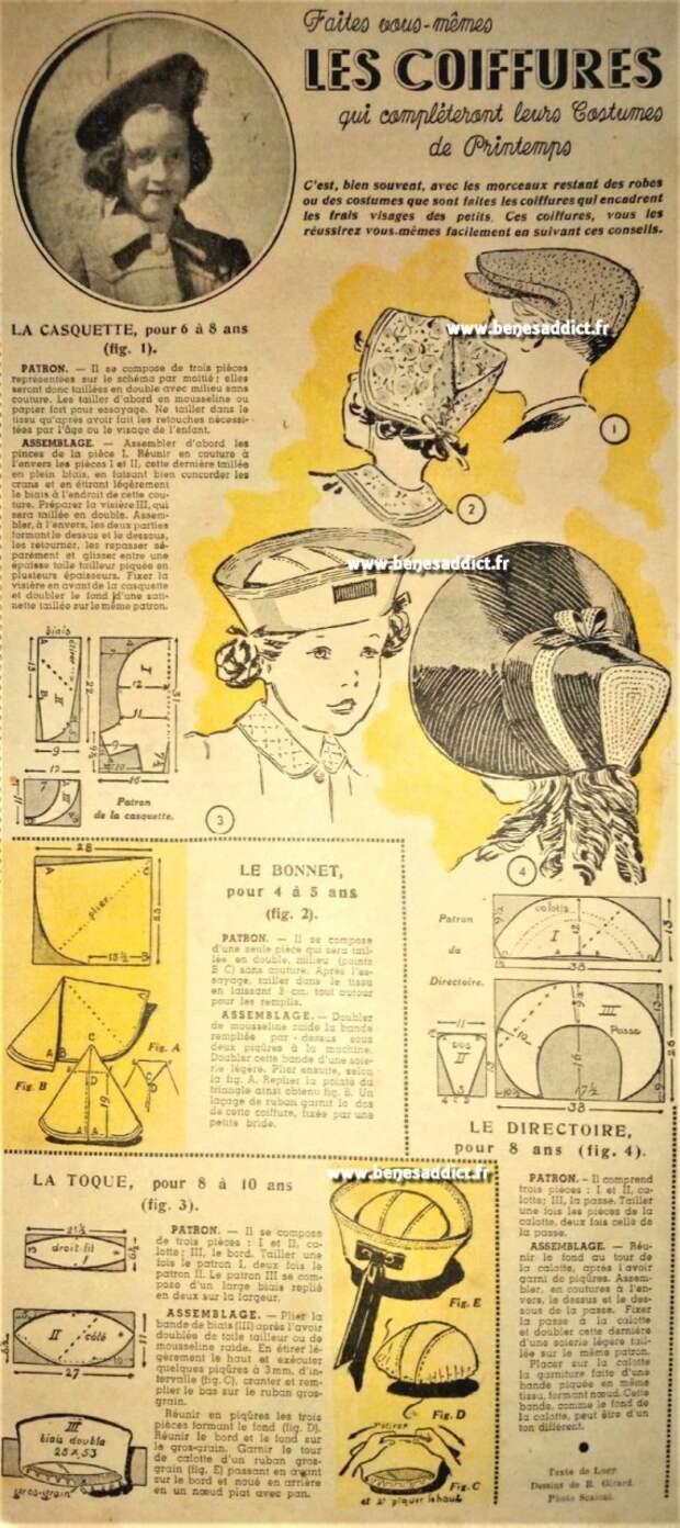 Ретро выкройки шляпок (подборка)