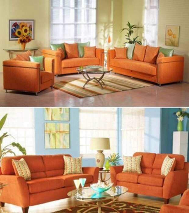 диван оранжевого цвета в интерьере