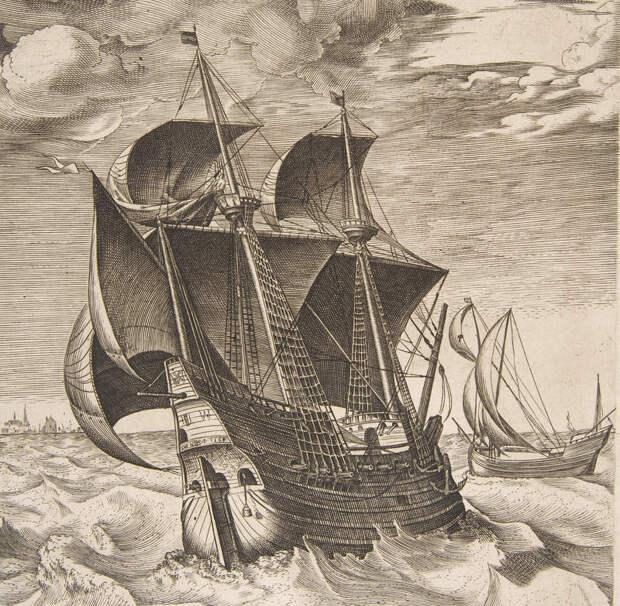 Корабли середины XVI века — как полагают, голландские хульк и бур. Гравюра по рисунку Петера Брейгеля - Война Священной лиги в 1539 году: большие надежды | Warspot.ru