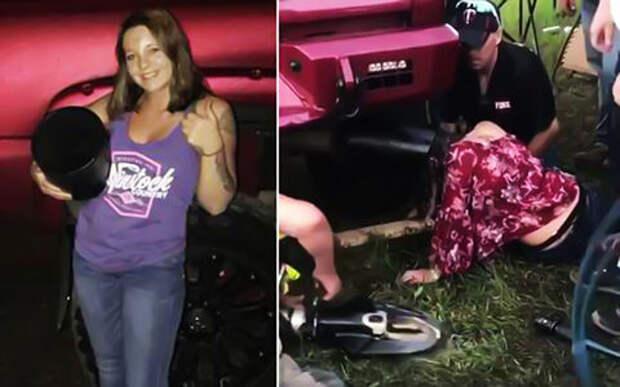 Пьяная американка застряла в выхлопной трубе пикапа