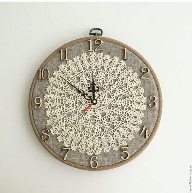 6. Салфетка - фон для циферблата часов Фабрика идей, кружевная салфетка, наши руки не для скуки, поделки и переделки